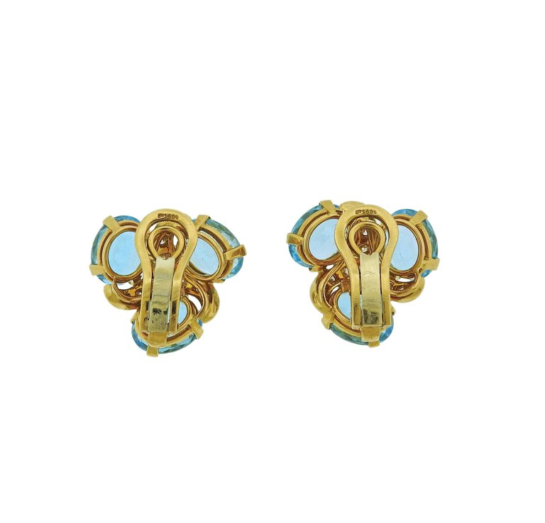 Verdura Blue Topaz Diamond Gold Earrings