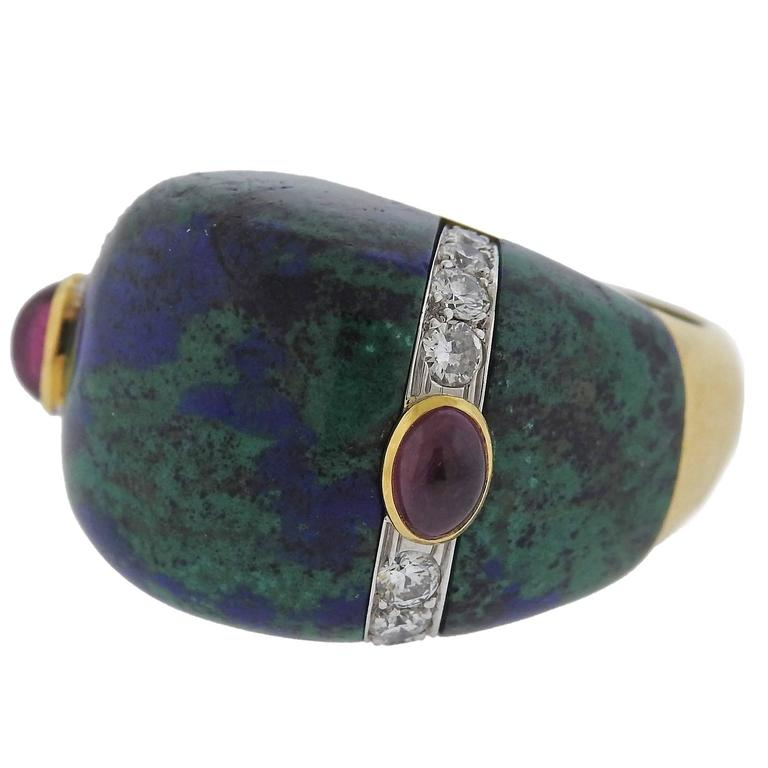 David Webb Azurmalachite Diamond Ruby Gold Platinum Ring - UPONPARK