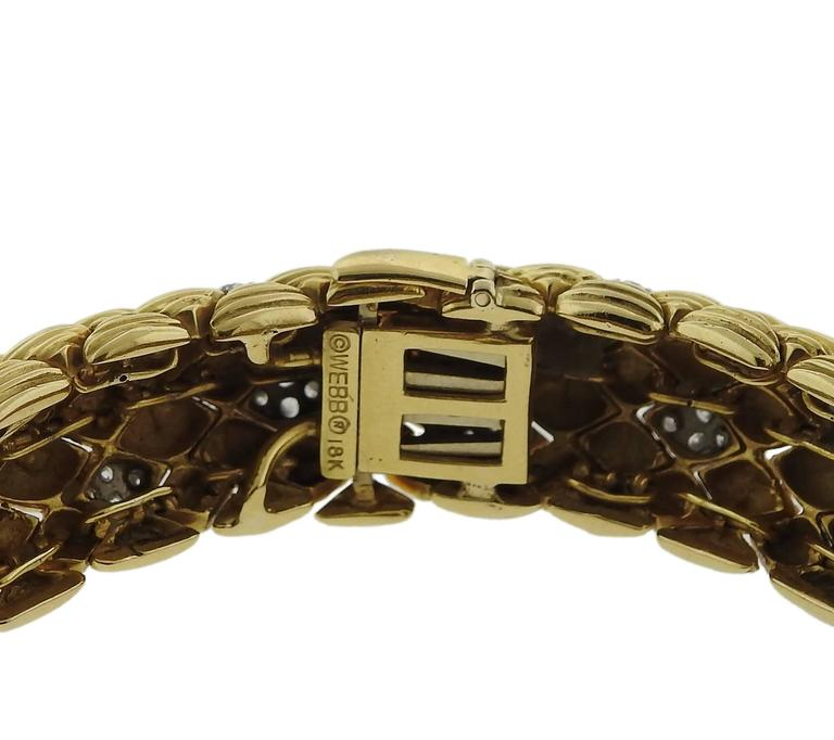 David Webb Diamond Gold Classic Bracelet