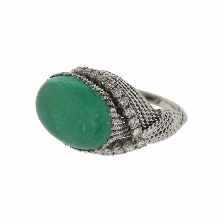 David Webb Diamond Emerald Cabochon Cocktail Ring
