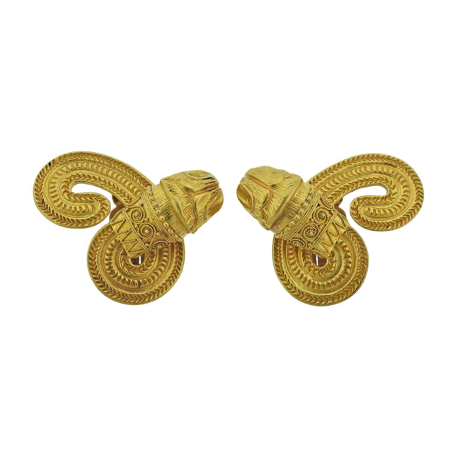 Lalaounis Greece Chimera Gold Earrings - UPONPARK