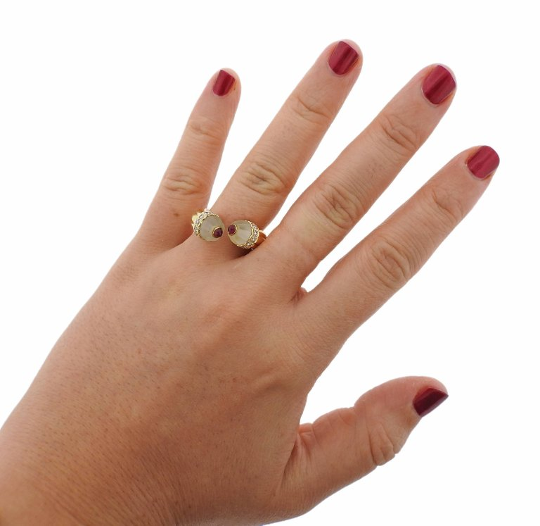 Diamond Ruby Frosted Crystal Gold Bypass Ring