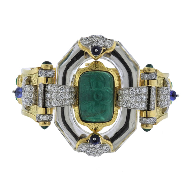 David Webb One of a Kind Emerald Diamond Sapphire Platinum Gold Bracelet