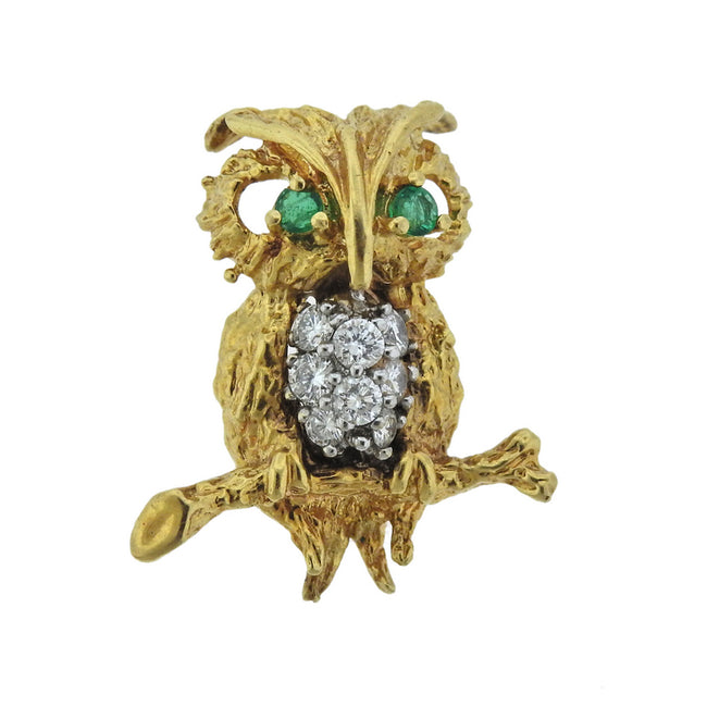 1960s Gold Diamond Emerald Owl Brooch Pin