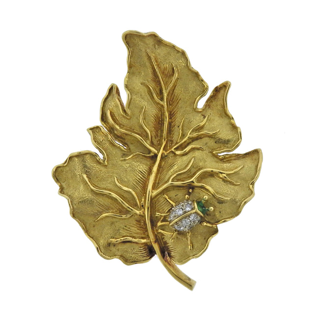 Tiffany & Co Diamond Emerald Gold Ladybug Leaf Brooch