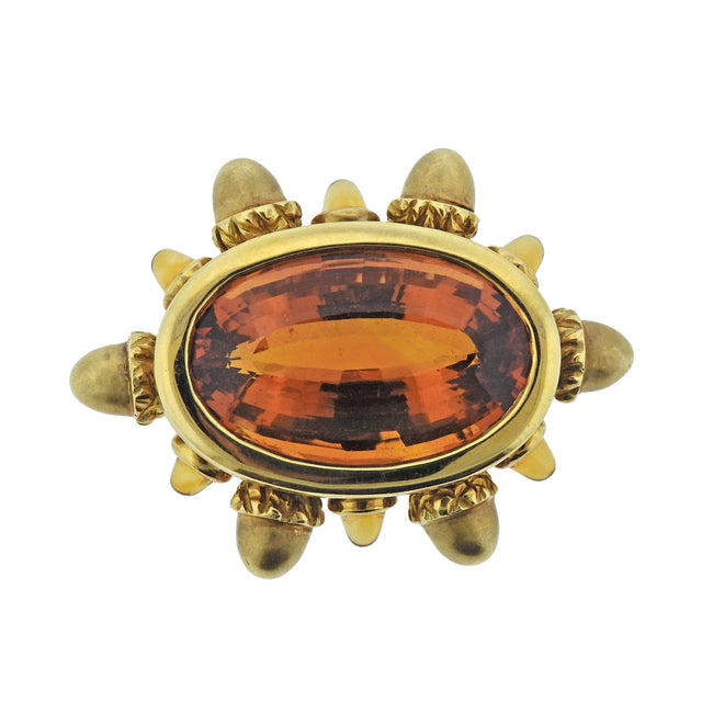 1999 Angela Cummings 35ct Citrine Gold Acorn Brooch