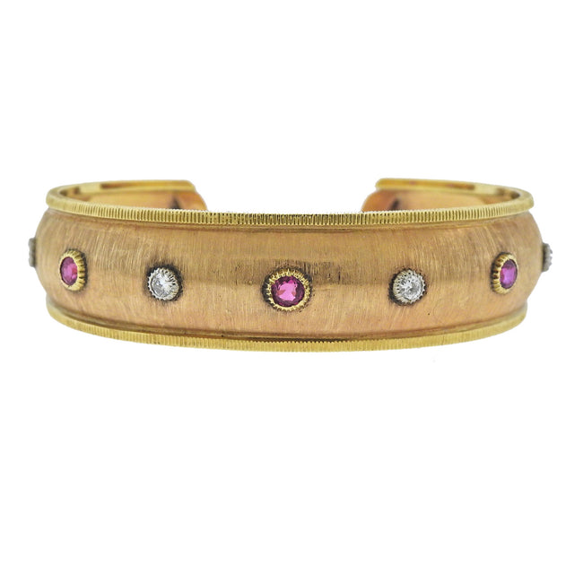 Buccellati Gold Diamond Ruby Cuff Bracelet