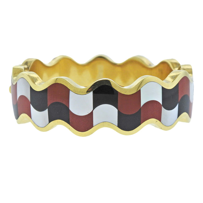 Tiffany & Co Jasper Mother of Pearl Onyx Gold Inlay Bracelet