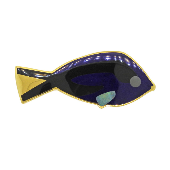 Tiffany & Co Lapis Opal Onyx Inlay Blue Tang Fish Brooch