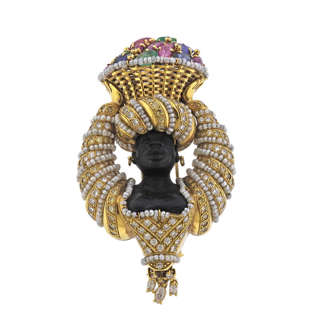 Demner Gold Diamond Ruby Emerald Sapphire Blackamoor Brooch Pin