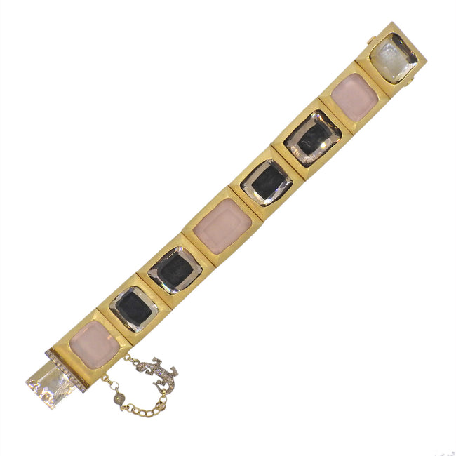 H. Stern Rose Quartz Diamond Lizard Gold Bracelet