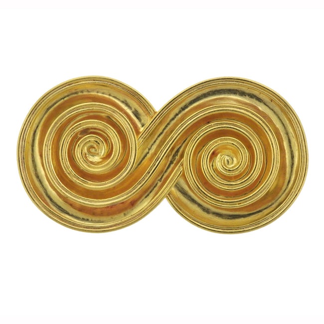 Lalaounis Greece Gold Swirl Motif Brooch Pin