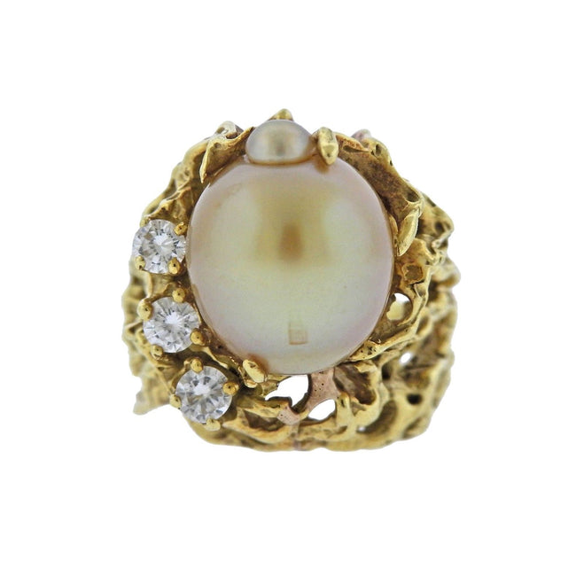 1970s Gold Pearl Diamond Free Form Ring