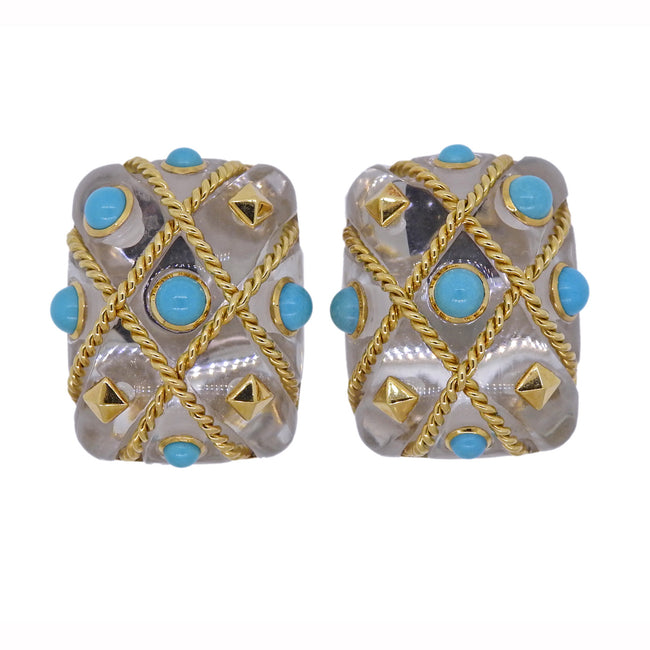 Seaman Schepps Cage Crystal Turquoise Gold Earrings