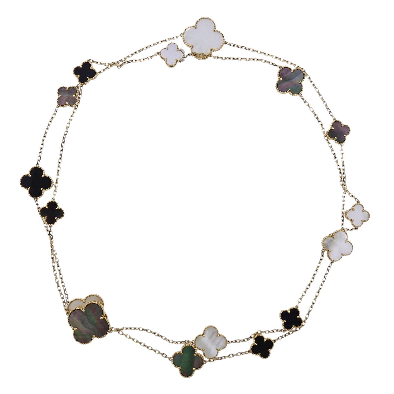 1f4702a49388 Van Cleef   Arpels Magic Alhambra Mother of Pearl Onyx Gold 16 Motif  Necklace ...