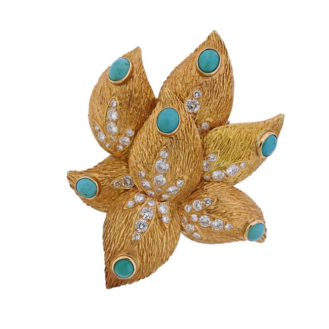 French Diamond Turquoise Gold Brooch Pin