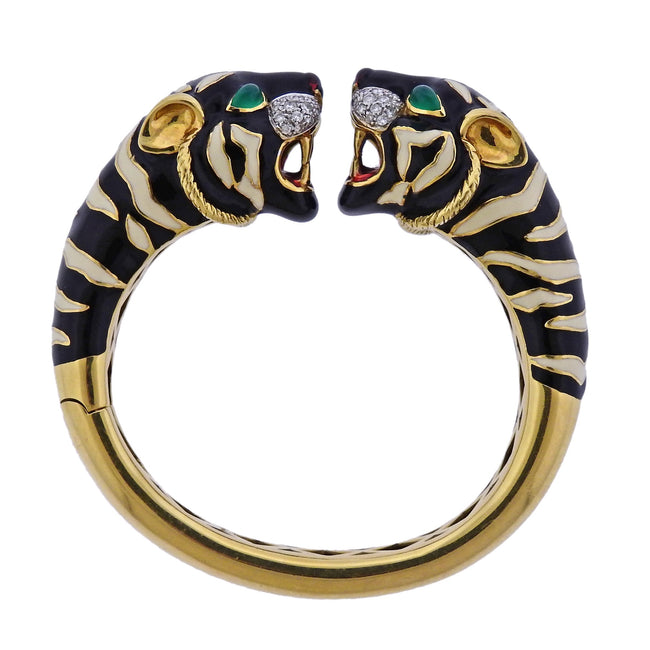 Roberto Legnazzi Diamond Enamel Tiger's Head Gold Bracelet
