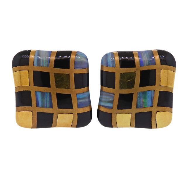 1980s Angela Cummings Opal Onyx Inlay Gold Checkered Earrings