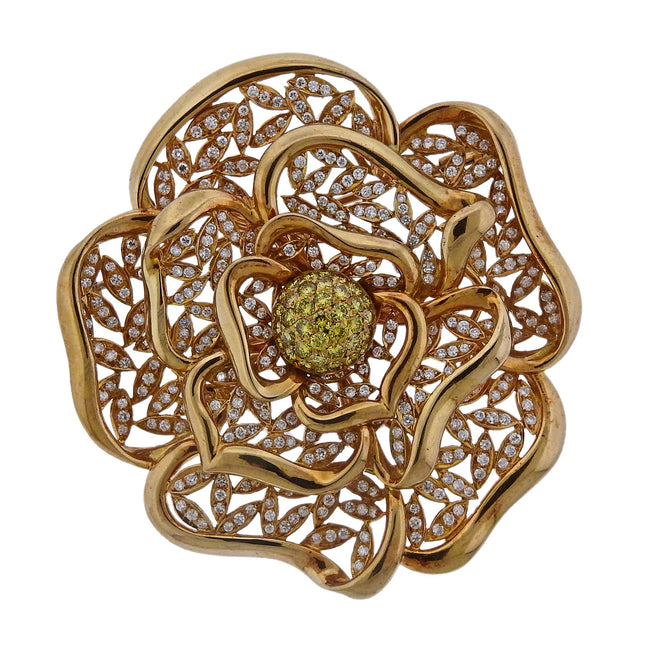 Diamond Gold Large Flower Brooch Pendant