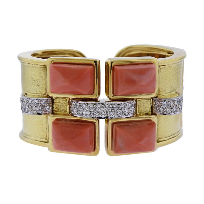 David Webb Bastille Diamond Gold Platinum Coral Cuff Bracelet