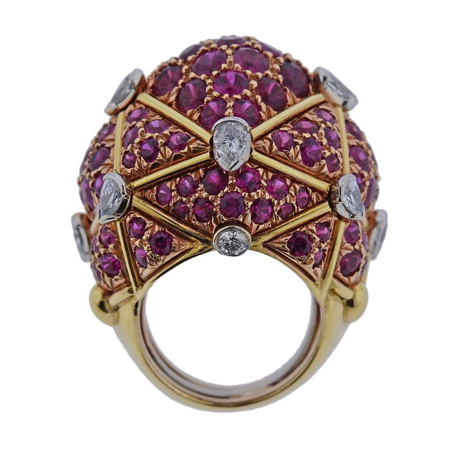 David Webb Geodesic Diamond Ruby Gold Platinum Dome Ring