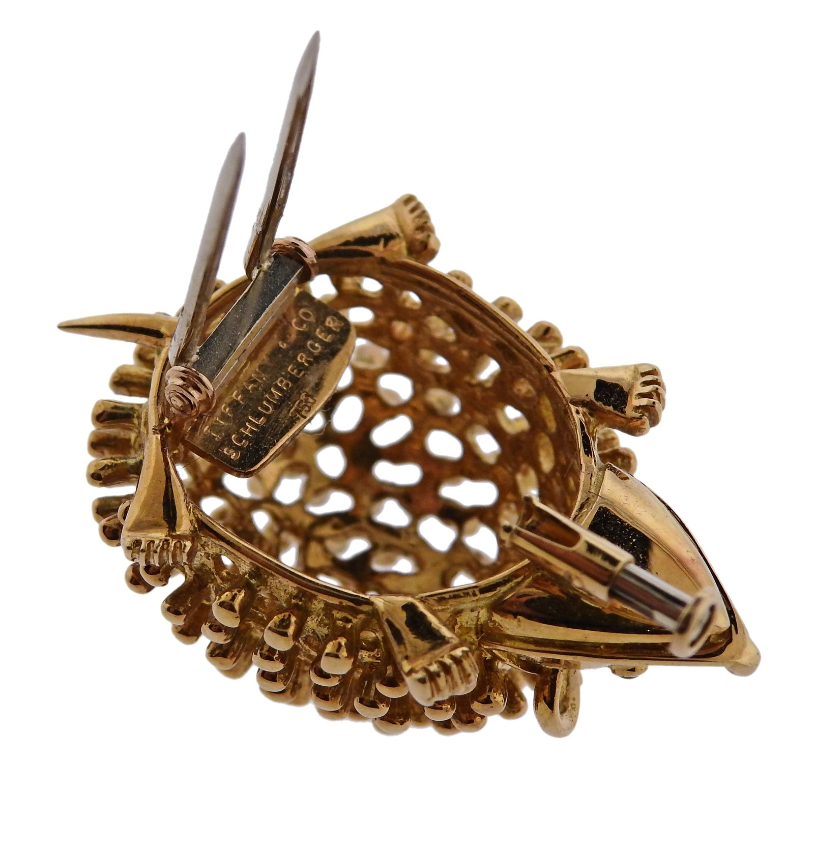 Tiffany & Co Schlumberger Ruby Gold Hedgehog Brooch Pin