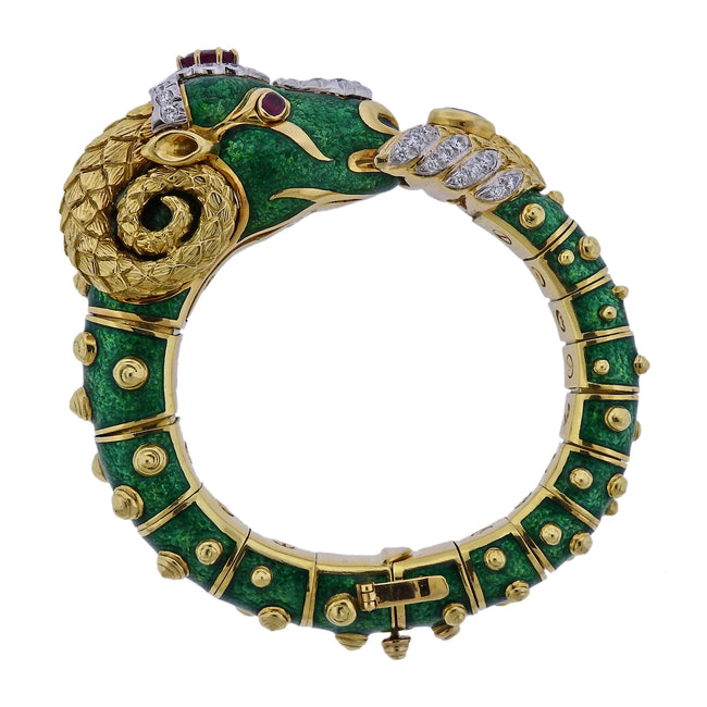 David Webb Gold Diamond Green Enamel Ram's Head Bracelet