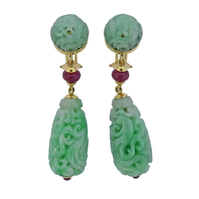 Seaman Schepps Carved Jade Ruby Gold Canton Earrings