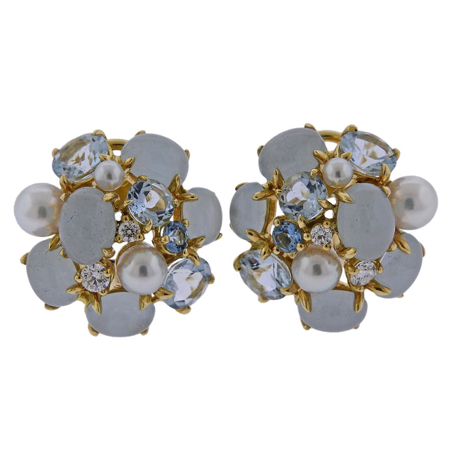 Seaman Schepps Pearl Diamond Aquamarine Gold Bubble Earrings