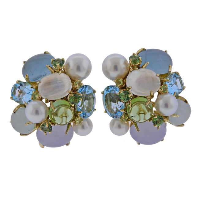Seaman Schepps Pearl Aquamarine Moonstone Gold Large Bubble Earrings