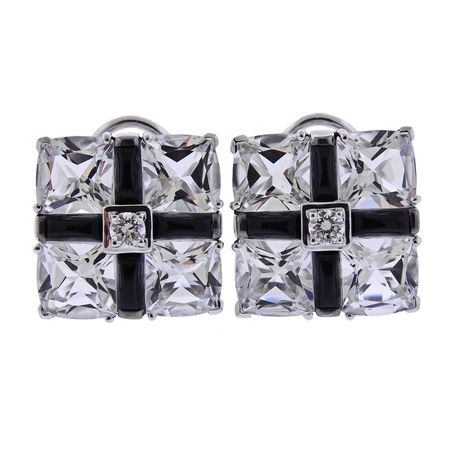 Seaman Schepps Diamond Crystal Onyx Gold Quad Earrings