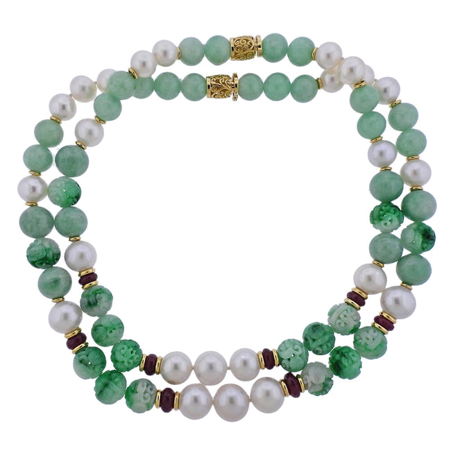 Seaman Schepps Canton Carved Jade Bead Pearl Ruby Gold Necklace Suite