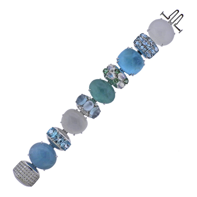 Seaman Schepps Rio Blue Multi Gemstone Diamond Gold Bracelet