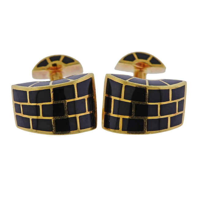 Angela Cummings Black Jade Inlay Gold Cufflinks