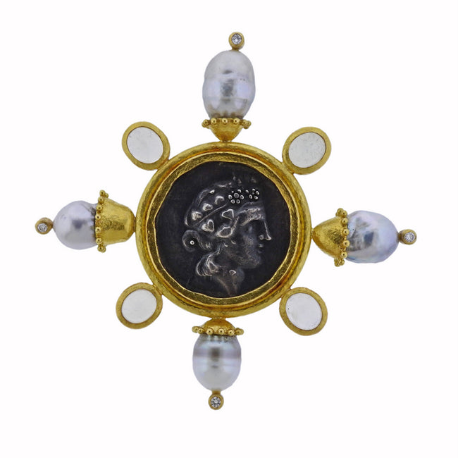 Elizabeth Locke Ancient Coin Pearl Moonstone Diamond Gold Large Brooch