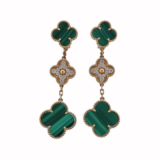 Van Cleef & Arpels Magic Alhambra Diamond Malachite Gold Earrings