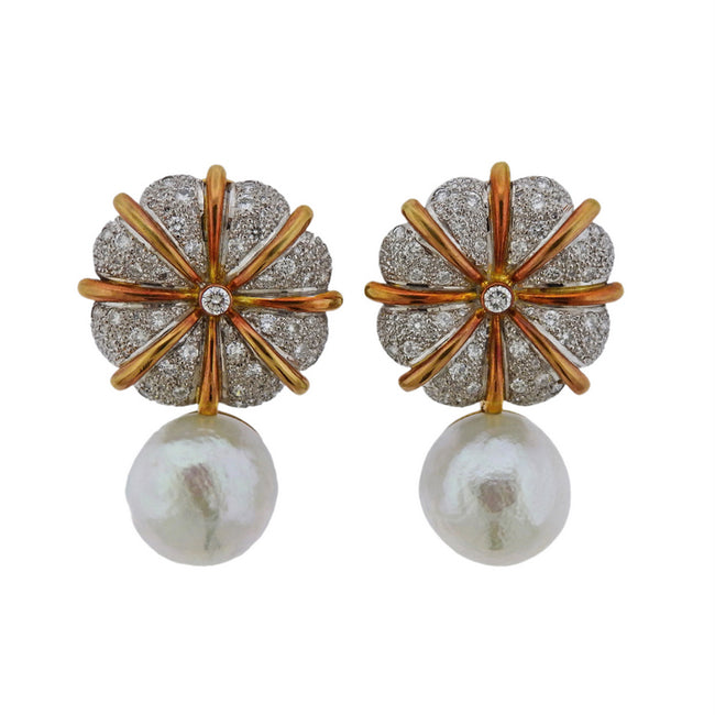 Elizabeth Gage Pearl Diamond Gold Earrings