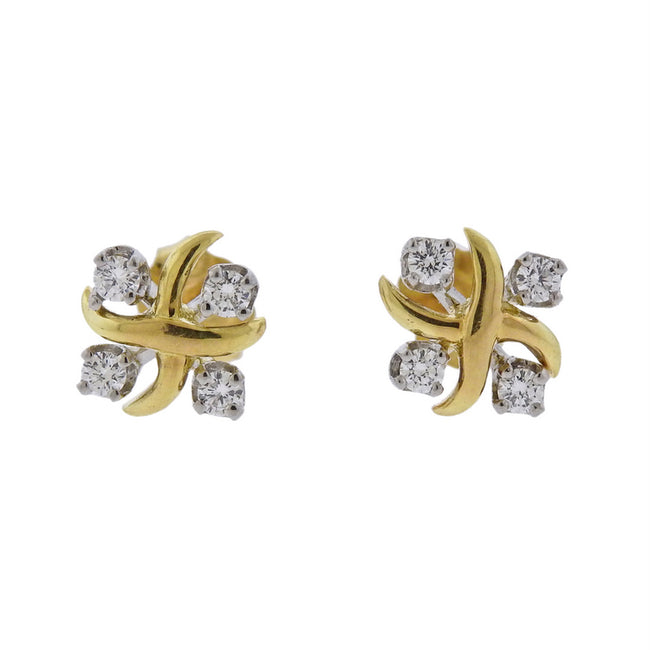 Tiffany & Co Schlumberger Lynn Diamond Platinum Gold Earrings