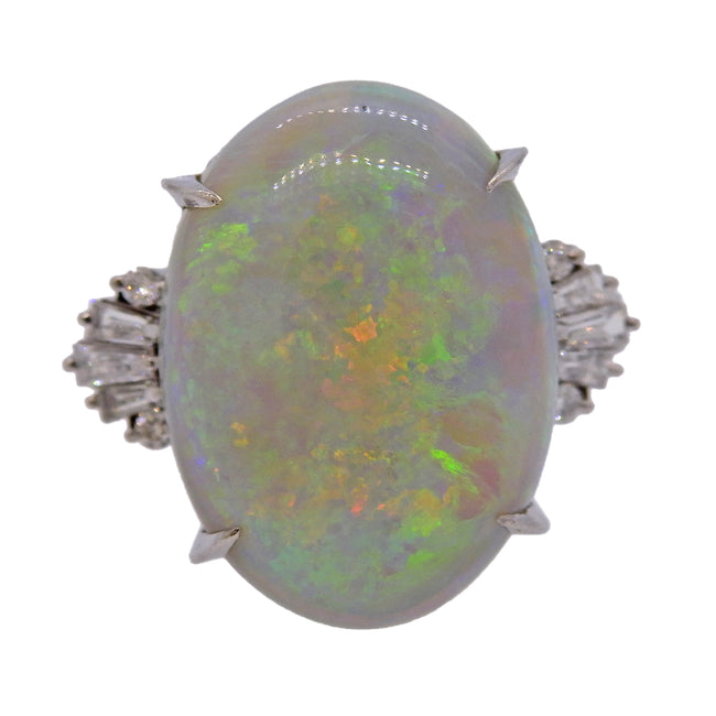 19.44ct Opal Diamond Platinum Ring