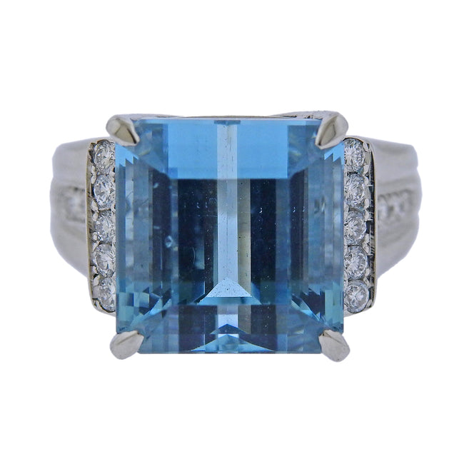 12.62ct Aquamarine Diamond Platinum Cocktail Ring