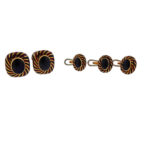Retro Brushed Gold Ruby Cufflinks