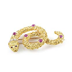 Ilias Lalaounis Gold Diamond and Ruby Snake Pin - UPONPARK