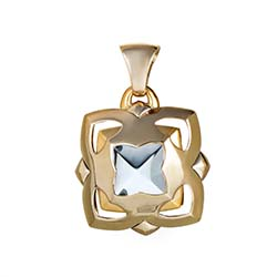 Bulgari Piramide White and Yellow Gold Topaz Pendant