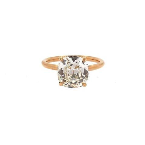 GIA Certified Antique Cushion Diamond 3.21 Carat Gold Engagement Ring