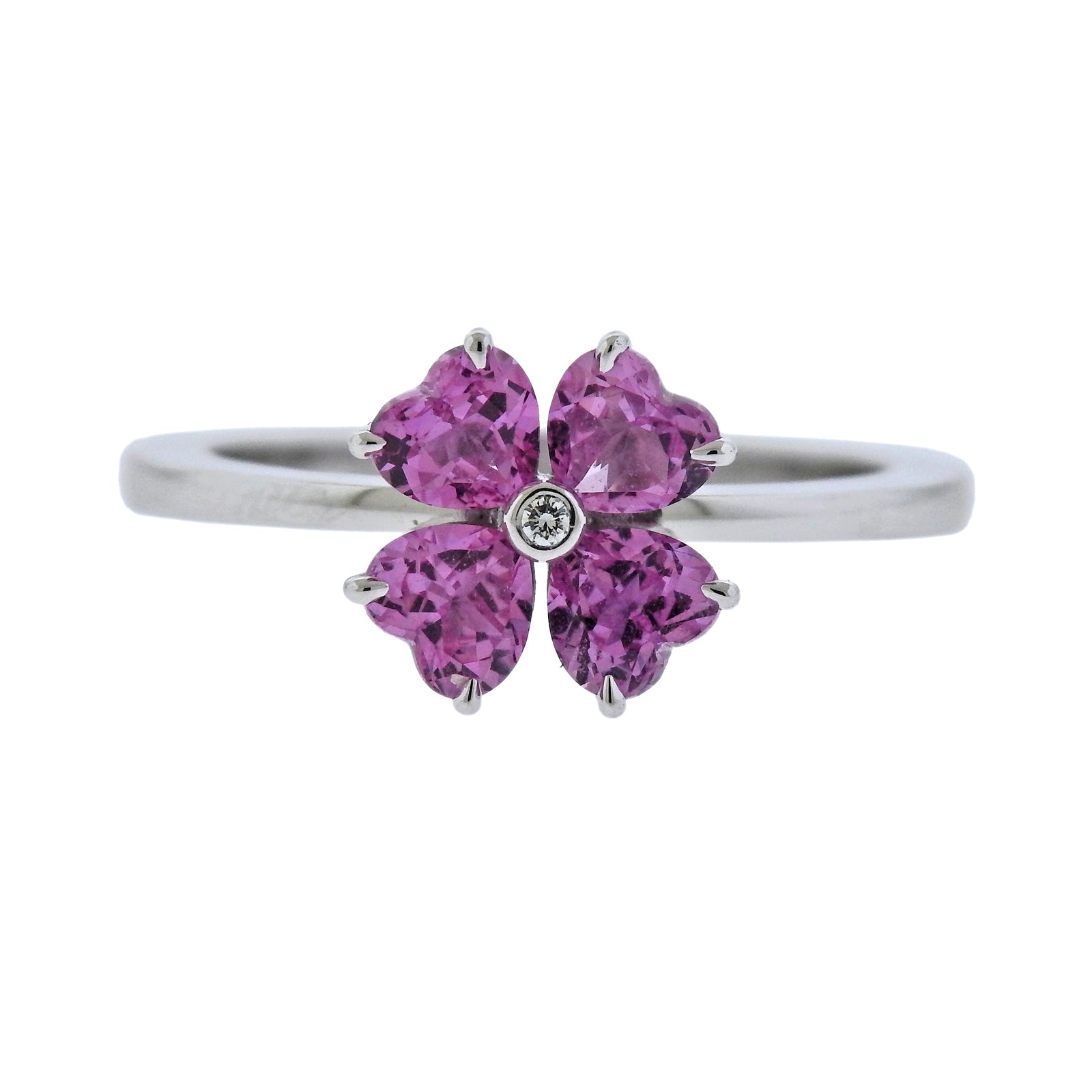 flower products cleef diamond rose sapphire arpels van gold pink authentic ring