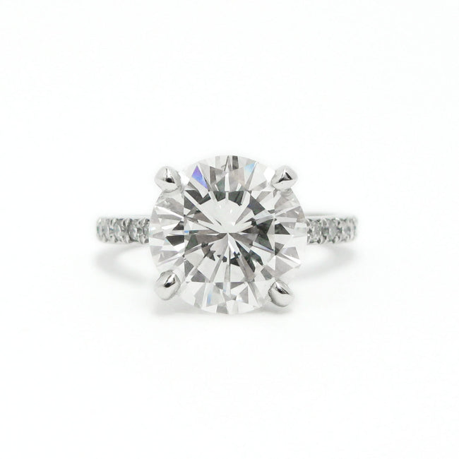 Platinum 4.02 Carat Round Diamond Engagement Ring