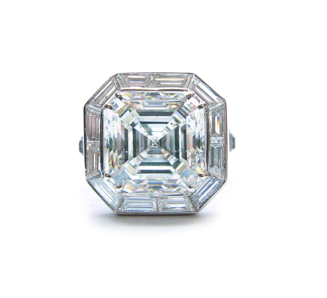Platinum GIA Asscher Cut H SI1 Art Deco Engagement Ring