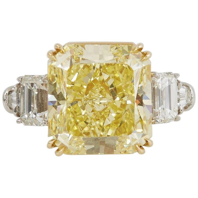 GIA Certified 15.37 Carat Natural Fancy Intense Yellow Diamond Engagement Ring