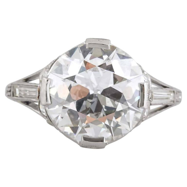 Art Deco 4.06 Carat Diamond Engagement Ring