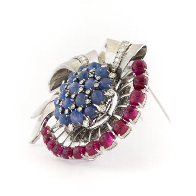 Raymond Yard Fantasy Bow Diamond Ruby Sapphire Gold Brooch
